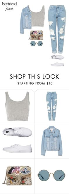 """""""california"""" by tiffvnyyy ❤ liked on Polyvore featuring Topshop, Vans, MANGO, Gucci, Ray-Ban and boyfriendjeans"""