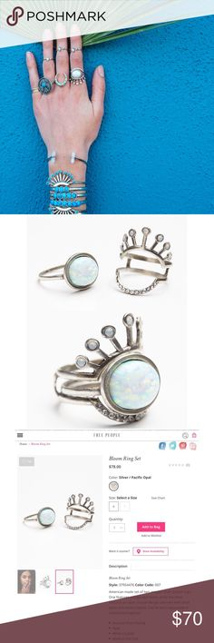 The 2 Bandits Bloom Ring Interlocking Set Opal Super rad set of 2 rings can be worn interlocked together or separately. Total festival vibes. made of antique silver plated featuring a large opal stone on 1 ring & an open design adorned with small opals & white crystals. Made with love in the USA. Sz 6. NWT. *will upload actual pic. Free People Jewelry Rings