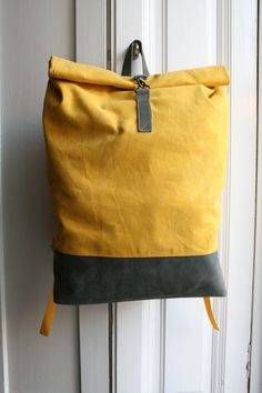 Items similar to Yellow Backpack Vaxed Canvas d932d63e819b4