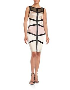 Jax Mesh Accented Banded Sheath Dress Women's Blossom 8