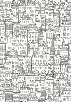 Free Printable Adult Coloring Pages - Houses
