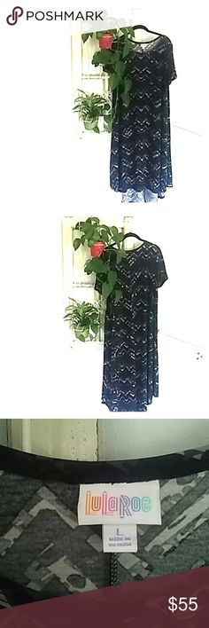 LuLaroe Comfortable Carly never worn! Soft material very flattering on. Very pretty black and grey pattern that can match with many accessories. LuLaRoe Dresses