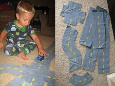 Reuse Jeans to make roads for play time - no sew!  Easy Fabric Roads: you need just yellow paint and scissors.