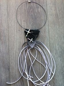 """A unique macrame necklace with lila cord , and two real """"cross shaped"""" pearls . I spray painted the necklace with black color (ombre). This macrame pattern is trade mark of Artemis Art Handmade Collection. Fringe Necklace, Macrame Necklace, Artemis Art, Trade Mark, Macrame Patterns, Micro Macrame, Cord, Necklaces, Shapes"""
