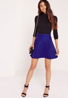 Premium Mesh Full Mini Skirt Cobalt Blue