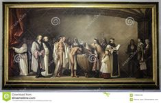 Painting of the baptism of native american Indians brought to Spain by Columbus by Juan Manuel Nuñez Bañez, painter