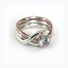 Engagement ring. Puzzle ring sterling silver gold by DafnaDagan, $460.00