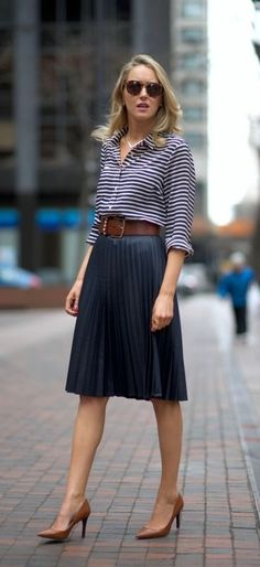 Navy pleated midi skirt + striped shirt + cognac accents by martina