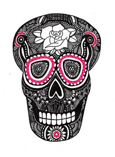 Calavera negra y rosa