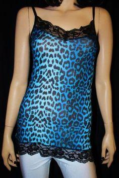 Blue Leopard Print Lace Long Top