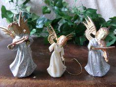 Three Tiny Vintage Angel Fairy Figures - Christmas Tree ? Cake ? Decorations