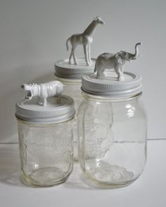 Animal Mason Jars / Makeup / Bathroom / Craft Storage on Etsy, $24.00