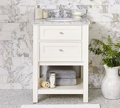 Classic Sink Console with Chrome-finished Knobs Mini White Carrara