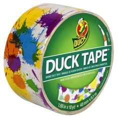 Duck Brand 280424 Paint Splatter Printed Duct Tape, White/Multicolor, 1.88-Inch by 10 Yards, Single Roll