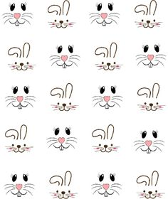 Bunny Faces Waterslide Nail Decals / Nail Shaping Haircuts for . - Bunny Faces Waterslide Nail Decals / Haircuts for every face, make-up for every sausage skin, again - Bunny Crafts, Easter Crafts, Easter Decor, Easter Ideas, Diy Ostern, Bunny Face, Easter Projects, Cartoon Faces, Nail Decals