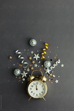 by Ruth Black - New years eve, Party - Stocksy United New Years Eve Day, New Years Party, New Year's Eve Wallpaper, New Year Photoshoot, Christmas And New Year, Xmas, Christmas Holidays, New Year Greeting Cards, Flat Lay Photography