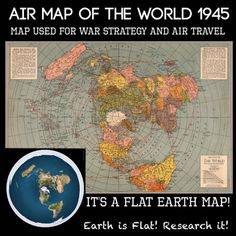 Flat world map of the war 1945 Flat World Map, Terre Plate, Flat Earth Proof, Earth Memes, Hollow Earth, Gods Creation, Conspiracy Theories, History Facts, Critical Thinking