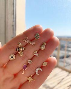 Mix & Match Studs Stylish Jewelry, Cute Jewelry, Jewelry Accessories, Fashion Jewelry, Kids Jewelry, Moon Jewelry, Hand Jewelry, Gold Earrings Designs, Gold Jewellery Design