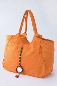Tangerine Orange Beaded Mirror Tassel Fabric Tote Bag Purse...great Diaper Bag or Beach bag...