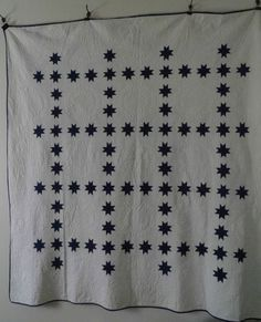 Dark Blue White Dated 1891 Indiana Star Quilt  love the calm simplicity