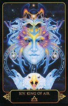 King of Air.  Dreams of Gaia Tarot by Ravynne Phelan.