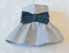 Dog Diapers - Female Dog Diaper Skirt Perfect for your dog in Season and House Training Navy Seersucker Madras Plaid Bow by piddleronthewoof on Etsy