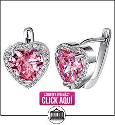 NYKKOLA Classic diseño de corazón con cristal auténtica 925bañado en plata de ley pendientes de aro  ✿ Joyas para mujer - Las mejores ofertas ✿ ▬► Ver oferta: http://comprar.io/goto/B00MO63AH8