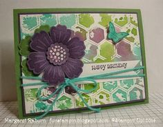 Margaret Raburn.  Mixed Bunch, Perfect Plum, Wild Wasabi and Coastal Cabana; Embossing folder stamping bkgnd.  CCMC306