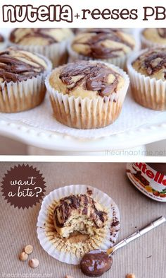 2/3 cup brown sugar  1/2 cup sour cream  5 TB butter melted  2 eggs  1 cup mashed bananas 3 small ripe bananas  2 cups flour  1 tsp baking powder  1/2 tsp baking soda  1 tsp nutella per muffin  1/2 cup reeses pb cubs optional
