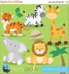 He encontrado este interesante anuncio de Etsy en https://www.etsy.com/es/listing/171632147/80-off-sale-safari-animals-clipart