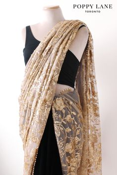 Simple Black Velvet and Gold Sequin Sari. | Shop now at poppylane.ca
