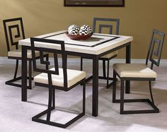 Black Metal Chairs with Ivory Marble Top | Maze 5 Piece Dining Set | American Freight