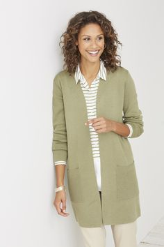 Versatile long cardi (in caper) over the placed-stripes shirt (in caper).