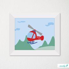 Custom Modern Children's Room Art Print / Nursery Decor / Newborn / Helicopter / Flying Theme. $21.00, via Etsy.