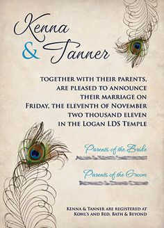 Peacock wedding invitation... custom designed by Karas Koncepts ... {5x7, 1 sided}