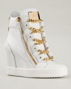 GIUSEPPE ZANOTTI DESIGN Chain Detail Wedge Hi-top Sneakers   Buy ➜ http://shoespost.com/giuseppe-zanotti-design-chain-detail-wedge-hi-top-sneakers/