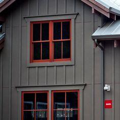 New exterior wood siding ideas craftsman style ideas House Siding, House Paint Exterior, Exterior Paint Colors, Exterior House Colors, Exterior Design, Barn House Kits, Barn Kits, Red Windows, Barn Windows