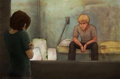 I love this drawing for so many reasons. It must have been pure torture for Katniss to see Peeta like this in Mockingjay. She's slowly figuring out she may have feelings for this boy and then President Snow does this to him... and to her? Gahh, right in the feels.