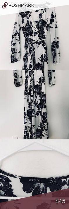 Ark & Co floral maxi wrap dress Stunning black and white floral wrap dress from Ark & Co. fully lined interior, so it's wearable year round! Ark & Co Dresses Maxi