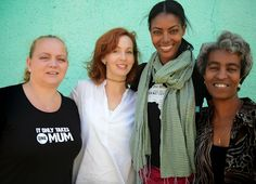 Michelle Pannell, Jennifer Howze, model Maya Haile and Women at Risk director Cherry Friedmeyer Writing About Family, Katie Miller, Making A Model, Ethiopia, You Changed, Charity, Crying, Mom, Womens Fashion