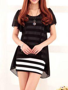 Wholesale Elegant Scoop Neck Ruffle Sleeve Striped Faux Twinset Design Dress For Women (BLACK,ONE SIZE), Dresses 2014 - Rosewholesale.com