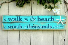 Beach Home Decor Sign with Starfish Wall Art