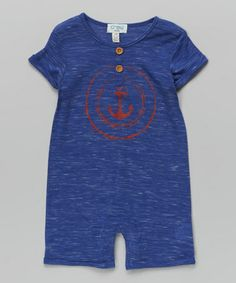 Look at this #zulilyfind! Blue & Red Anchor Button Romper - Infant #zulilyfinds