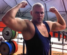 strong man flexing biceps