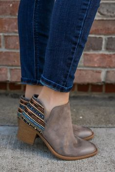 Faux Suede Side Cutout Patterned Ankle Booties Tobin-84 – UOIOnline.com: Women's Clothing Boutique