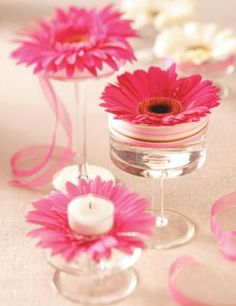 How to Make a Daisy Centerpiece  Wonderfully bright and cheery, these Gerbera daisy centerpieces are sure to add a touch of whimsy to your Easter table.