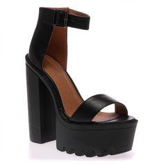 ceffa154c88 Shop Jessi Black Cleated Sole Platform Shoes