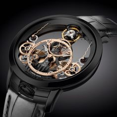 Skeleton watches - Arnold & Son's Time Pyramid Black Edition Will Light Up Your Day Amazing Watches, Beautiful Watches, Cool Watches, Wrist Watches, Stylish Watches, Luxury Watches For Men, Patek Philippe, Arnold Son, Apple Watch Fashion