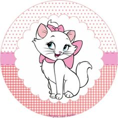 toppers                                                                                                                                                                                 Mais Aristocats Party, Marie Cat, Gata Marie, Cat Cupcakes, Inspire Sua Festa, Bottle Cap Images, Cat Party, Cartoon Design, Paper Toys