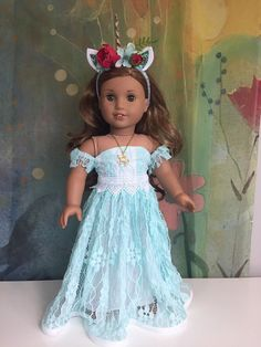 Excited to share this item from my shop: American Girl Custom OOAK Elegant Unicorn Queen Outfit - Ropa American Girl, Custom American Girl Dolls, American Doll Clothes, Girl Doll Clothes, Doll Clothes Patterns, Barbie Clothes, American Girl Dress, American Girl Crafts, Clothes 2019